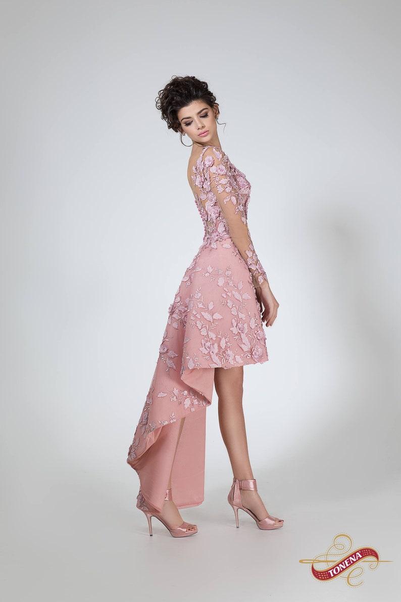 Asymmetrisches Kurzes Hochzeitskleid In Erröten Hallo Etsy