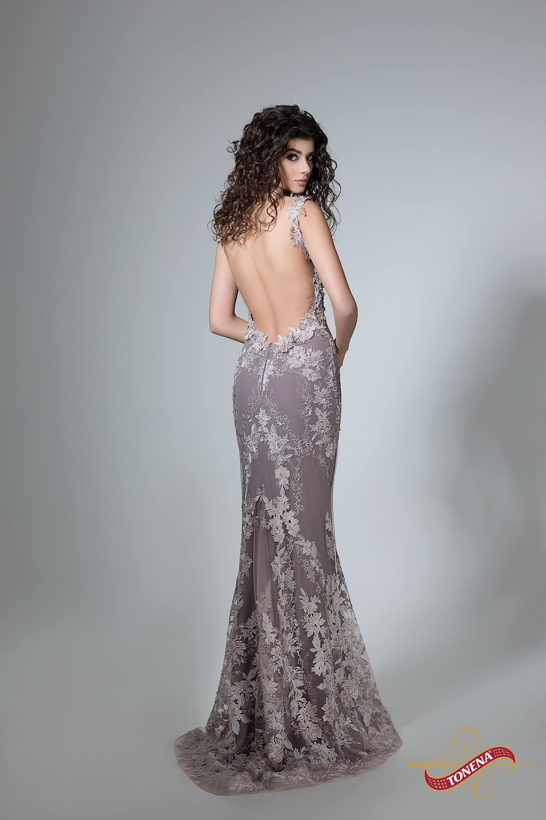 9ae22eb487c Sexy prom dress in gray Backless formal dress Open back