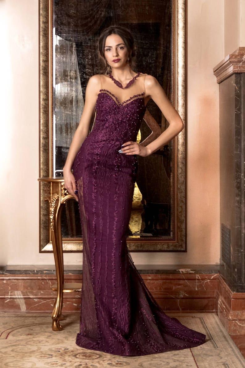 3432ad34e1387d Paarse moeder van de bruid-jurk lange formele jurk couture