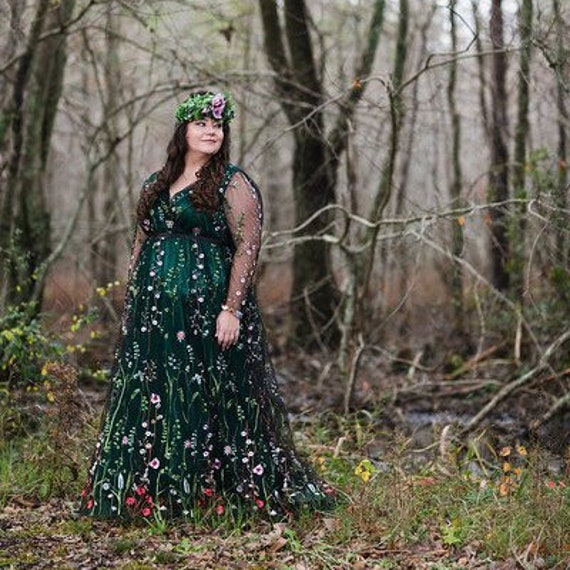 Green Floral Wedding Dress Plus Size Embroidered Flower Bridal Etsy