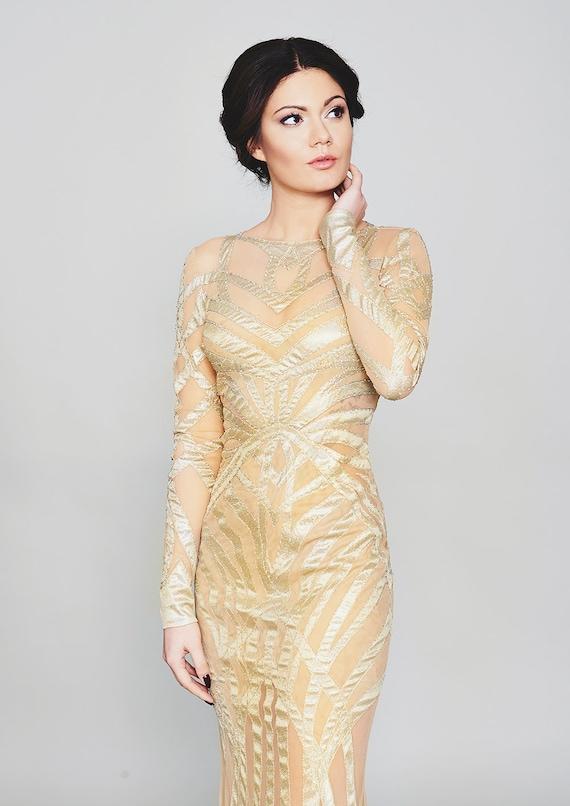 2018 Gold Wedding Dress Chic Wedding Dress Deco Wedding Etsy