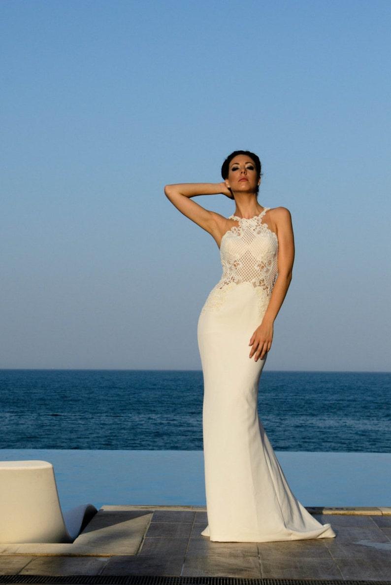 Simple Wedding Dress In Ivory Modest Wedding Dress In Sheath Etsy
