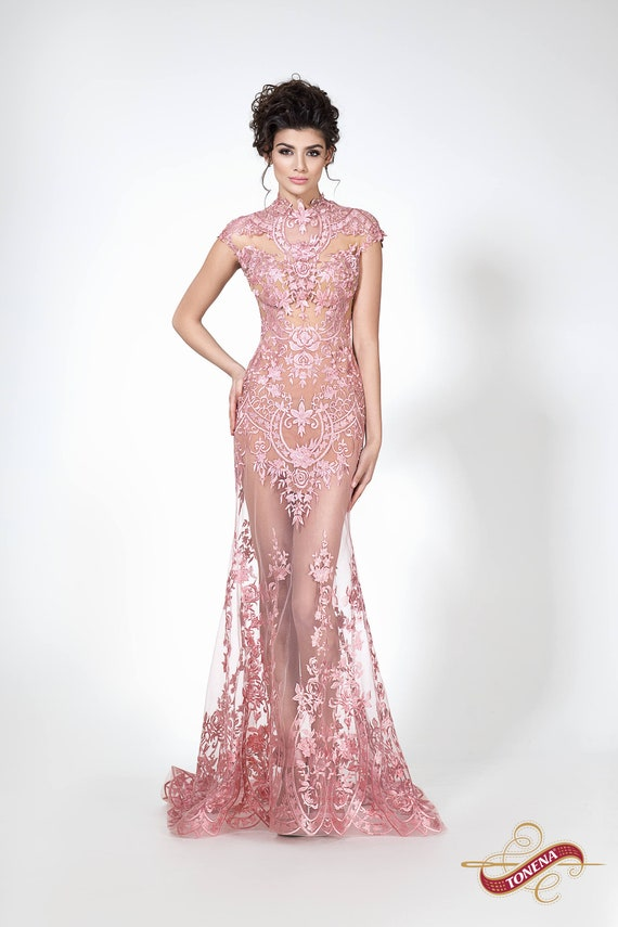 Super Sexy Fitted Evening Gown Pink Modern Transparent Dress Etsy