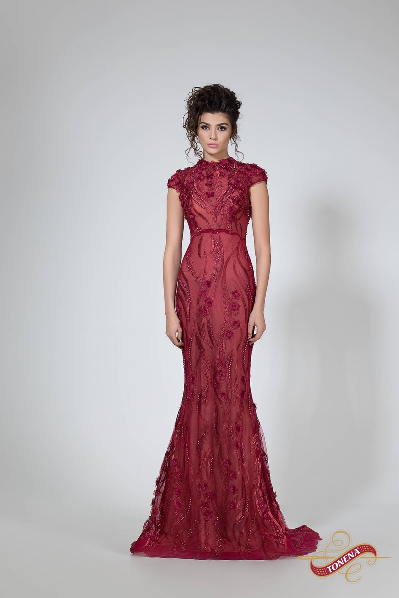 f43c0618a140 Wine red Mother of the bride dress Long prom formal gown | Etsy