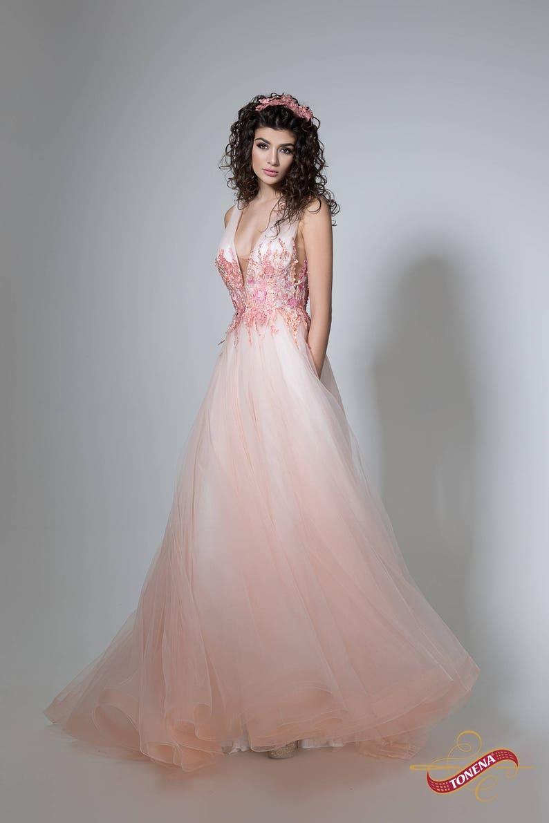 2602f27db5 Flower wedding dress in peach Color wedding gown wedding