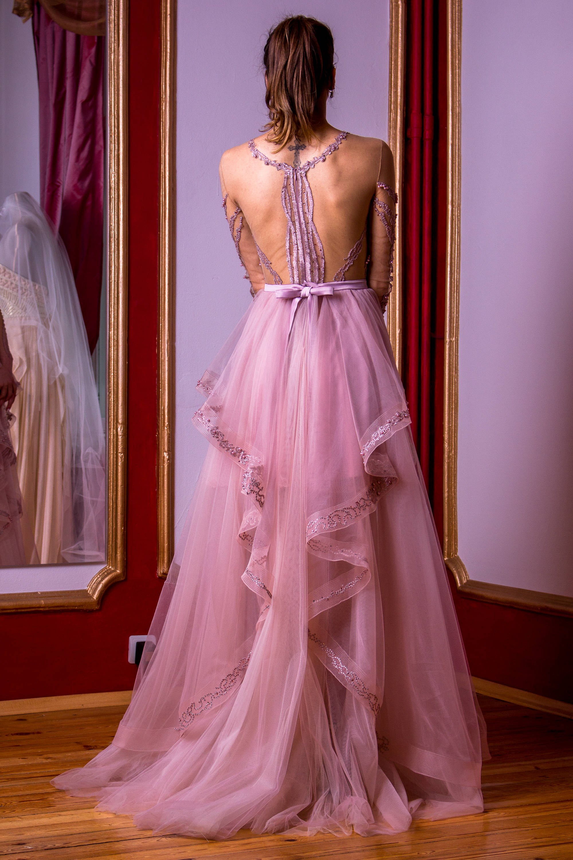 Rosa ceniza vestido con falda desmontable corto y largo