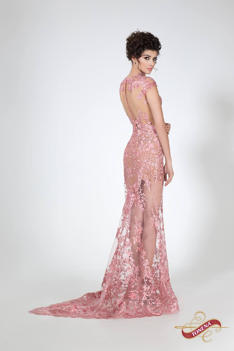 ebf02fa6df95c Super sexy fitted evening gown Pink modern transparent dress   Etsy