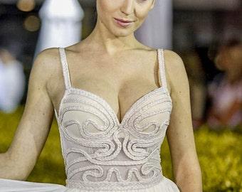 Low back wedding dress, Sexy bridal dress in champagne, Unique wedding dress of chiffon for a Beach wedding