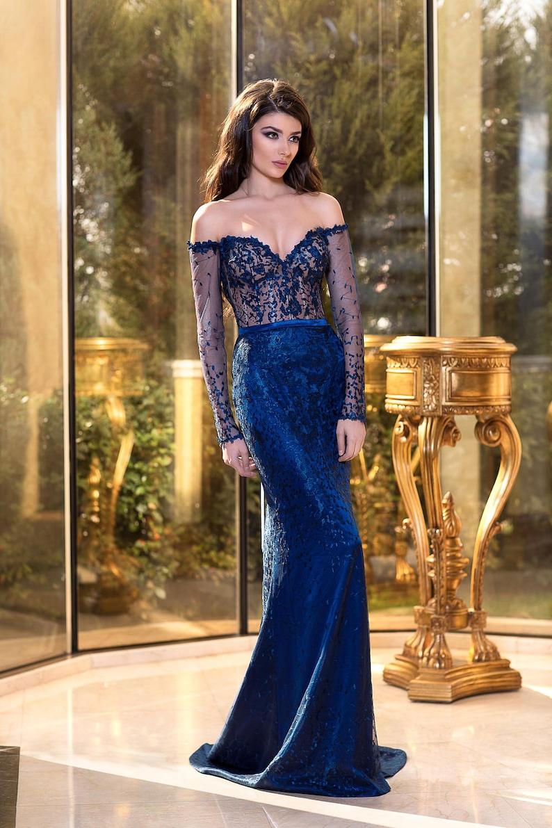 f975cde44fd4 Sexy blu sera abito abito formale abito damigella