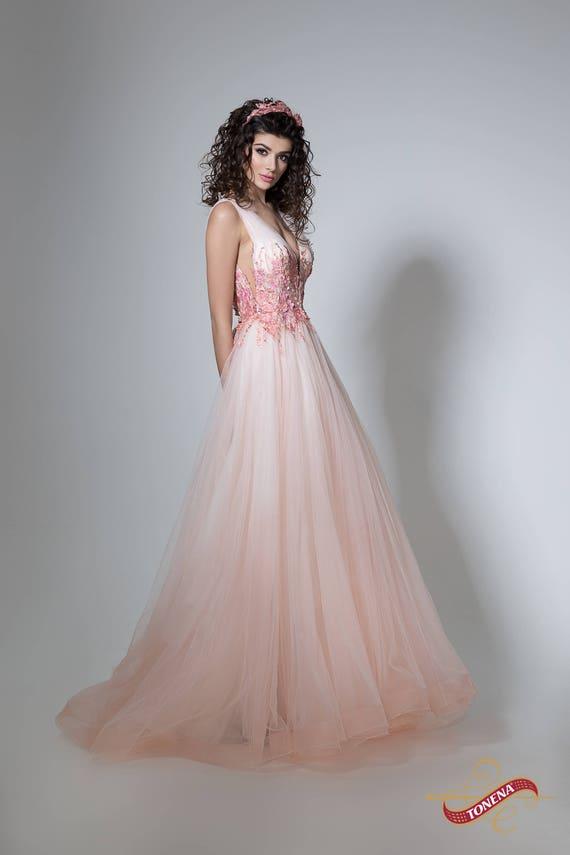 Flower wedding dress in peach Color wedding gown wedding | Etsy