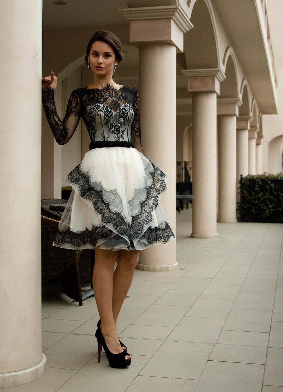 Black and white wedding dress Short bridal dress with lace   Etsy