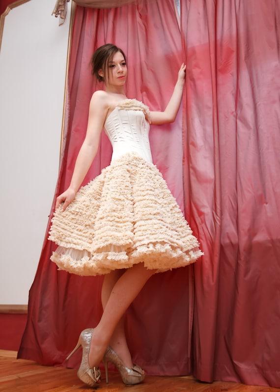 Oro color de rosa de la boda vestido corto vestido de novia