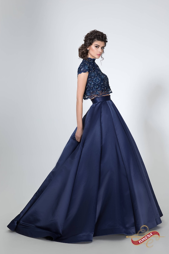 Navy Blue Lace Couture Dress