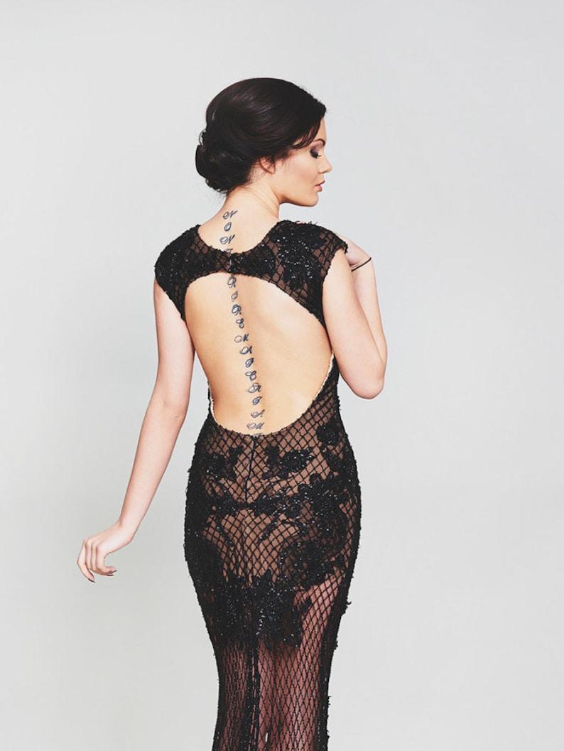 Black open back dress Romantic cocktail gown Long formal image 4