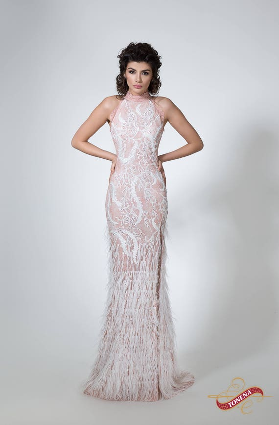 Pink Feather Wedding Dress
