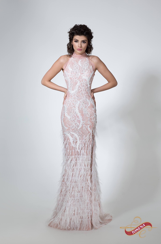 Bescheidenen Brautkleid in Rosa Federn Brautkleid mit Ärmeln