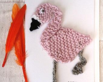 Flamingo birthday card, knitted flamingo, blank greetings card, card for her, flamingo lover, eco friendly card, unusual birthday card