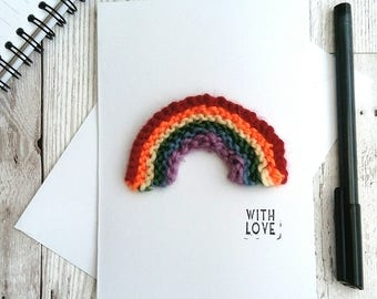 Rainbow birthday card, gay card, lgbt anniversary card, eco card, rainbow baby gift, unusual greeting card, card for child, rainbow magnet