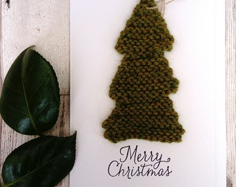 Christmas card; Christmas tree card; removable tree decoration; knitted tree card; special christmas card; eco friendly gift, unique card