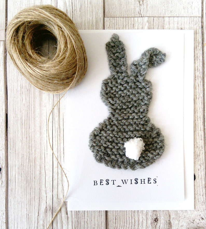 4ce60ac94 Bunny card knitted bunny card unique card new baby card