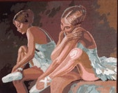 Two girl ballet dancers sitting - XLarge vintage hand stitched needlepoint tapestry ideal for cushion, pillow, bag