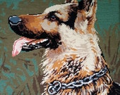 Alert Alsatian dog -vintage hand stitched needlepoint tapestry ideal for wall cushion pillow bag stool chair cover