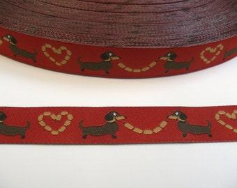 "1 m Woven Ribbon Würschtl-Wastl"" red turquoise  15 mm Design mymaki dachshund"
