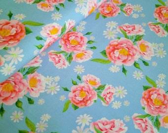 "0,5 m Organic printed fabric Cotton  Poplin ""Rose Emma"" 145 cm w GOTS"