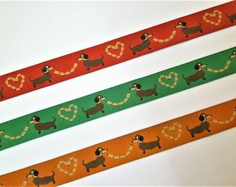 "1 m Woven Ribbon Würschtl-Wastl"" 15 mm Design mymaki dachshund"