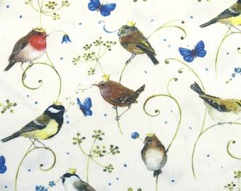 "0,5 m Organic Cotton  Poplin ""Bird with crown"" 145 cm w GOTS"
