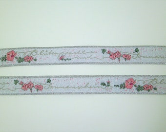 """1 m Woven Ribbon """"Blossoms and Sunshine"""" 16 mm w. 100% polyester"""
