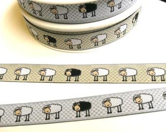 "1 m Woven Ribbon "" Sheep"" 16 mm w. grey beige"