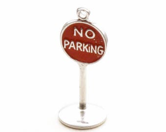 No Parking Sign Enamel Bracelet Charm Non Sterling Driving Pendant
