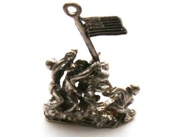 Battle of Iwo Jima Bracelet Charm Sterling Silver Marines WWII