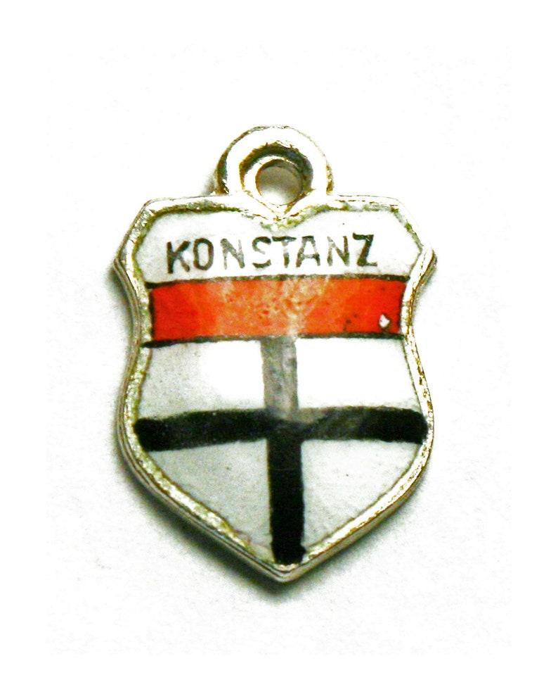 Konstanz Germany Coat of Arms Enamel Travel Shield 800 Silver Bracelet Charm