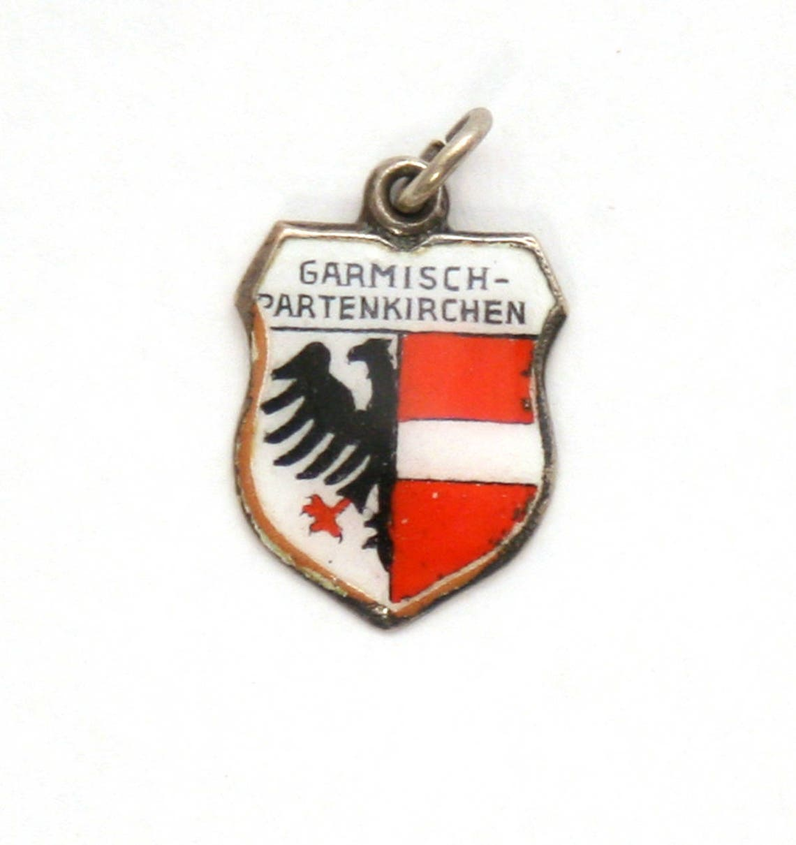 Garmisch Partenkirchen Germany Enamel Travel Shield 800 Silver Bracelet Charm
