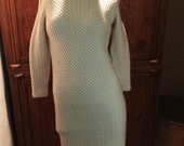 SALE Vintage 60s Mod Glasgo Boho Fair Isle Wool Mohair Sweater Dress Jackie O Cable Knit Fair Isle Fisherman Sweater Wiggle Dress