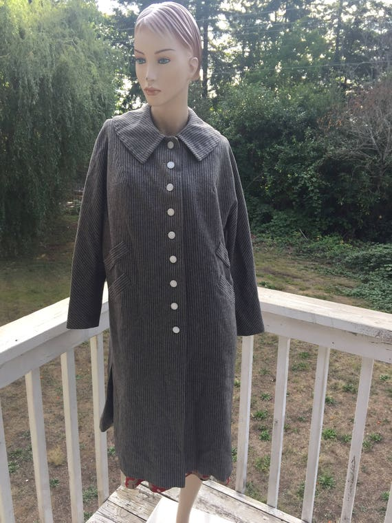 40s 60s Grey Black Jackie O Wool Pinstriped Little