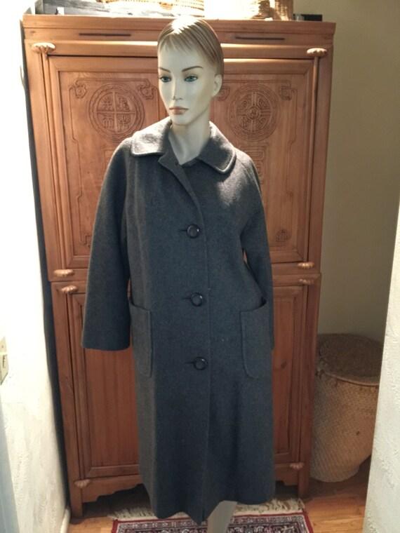 Darted 40s 50s Kitschy Bohemian Chic Wool Gray Coa