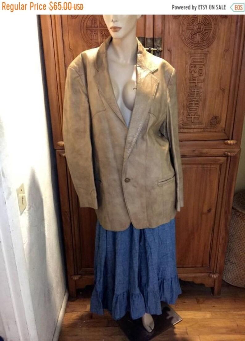 SALE SALE 70s Western Wear Leather Grais Elegante Sports Coat Urban Cowboy Country Western USA Rockabilly Rocker 46