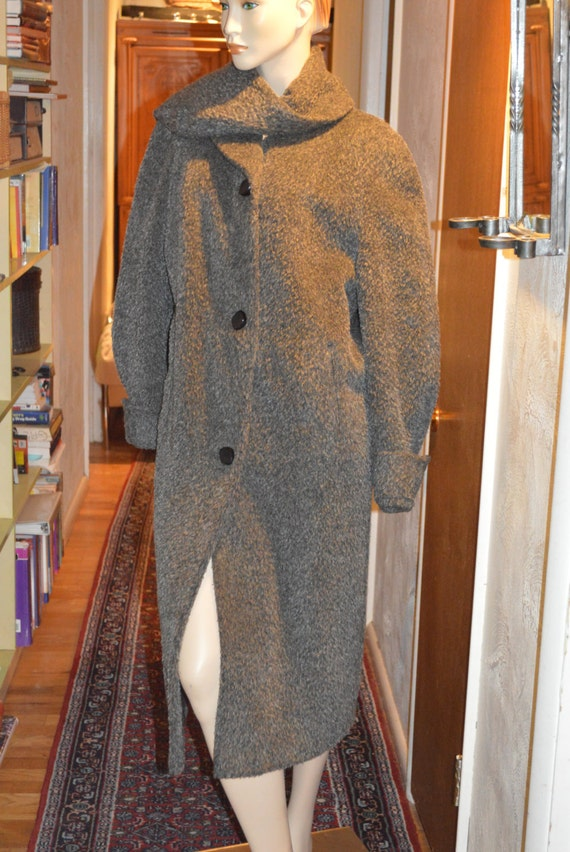 40s 50s Vintage Gray Couture Scarf Wool Dress Coat