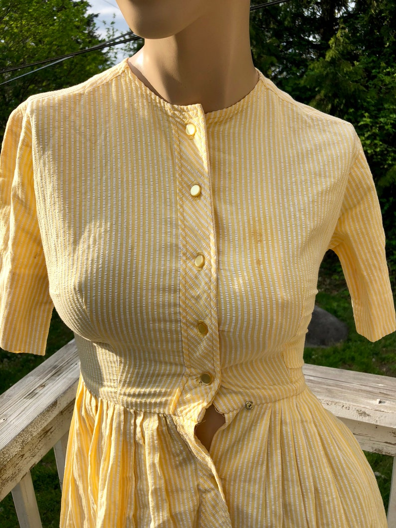 938e1804f65 MARCH 2019 50s Vintage Yellow Striped Cotton Day Party Summer