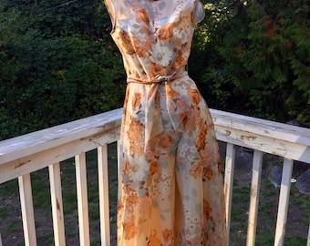 Vintage Designer 60s 70s Lilli Diamond California Chiffon Overlay Floral Palazzo Hollywood Regency Cottage Chic Evening Garden Dress Gown 6