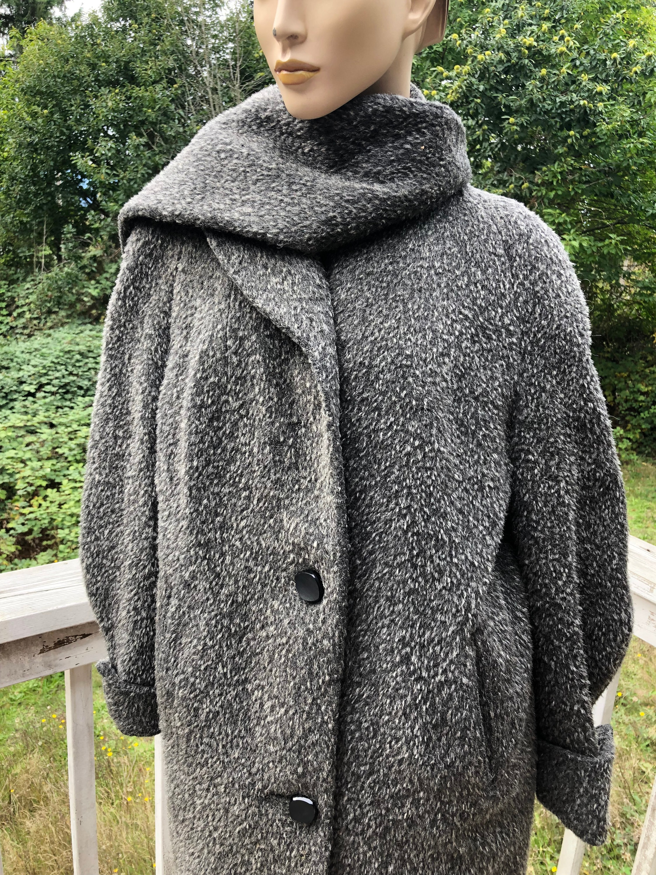 Vintage Scarf Styles -1920s to 1960s Bold 60S Gray Wool Scarf Maxi Coat Jackie O Cottage Chic Xl $0.00 AT vintagedancer.com