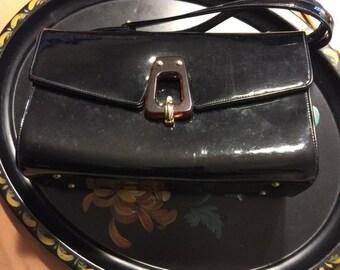ON SALE 60s Mod Louis Coblentz Parisan Bohemian Chic Black Patent Leather Vogue Vintage Kelly Handbag Box Purse