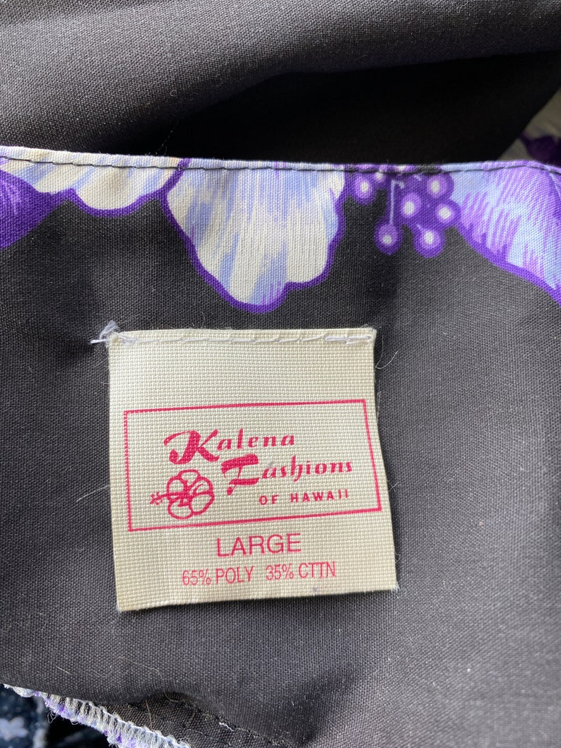 Vtg Kalena Fashions Hawaiian Black Purple FLoral Boho Muu Muu Dress