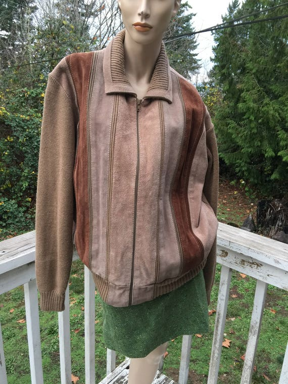 70s Boyfriends Boho Suede Leather Sweater Coat Boh