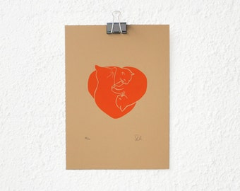 3 little cats - screenprinted red illustration - limited edition