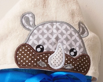 Rhino Peeker Hooded Towel Applique Machine Embroidery Design. Boy towel with rhino Applique embroidery design. Instant download. Rhinoceros