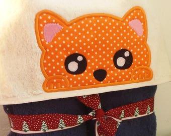 Kitten Peeker Hooded Towel Applique Machine Embroidery Design. Peeker Cat. Cute Cat Applique Design embroidery design. Instant download.